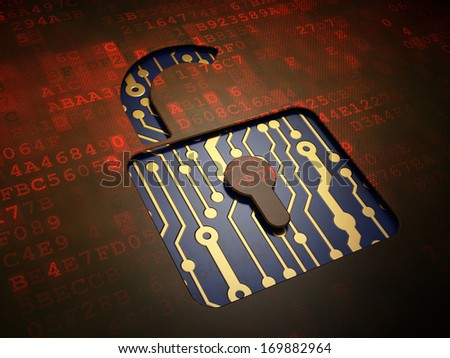 Privacy concept: digital screen with icon Opened Padlock, 3d render - stock photo