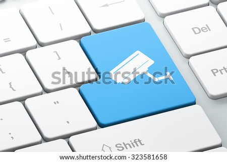 Privacy concept: Enter button with Cctv Camera on computer keyboard background, 3d render - stock photo