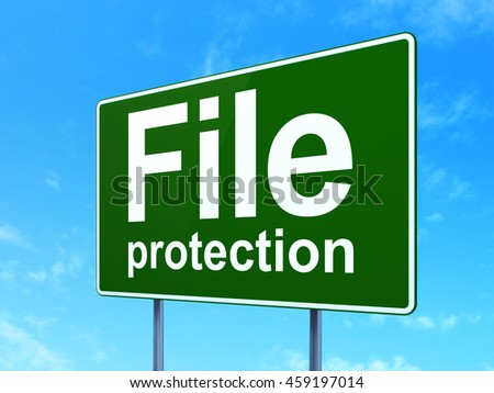 Privacy concept: File Protection on green road highway sign, clear blue sky background, 3D rendering - stock photo
