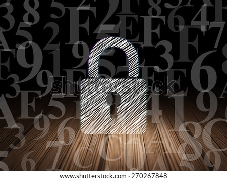 Privacy concept: Glowing Closed Padlock icon in grunge dark room with Wooden Floor, black background with  Hexadecimal Code, 3d render - stock photo