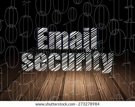 Privacy concept: Glowing text Email Security in grunge dark room with Wooden Floor, black background with  Binary Code, 3d render - stock photo