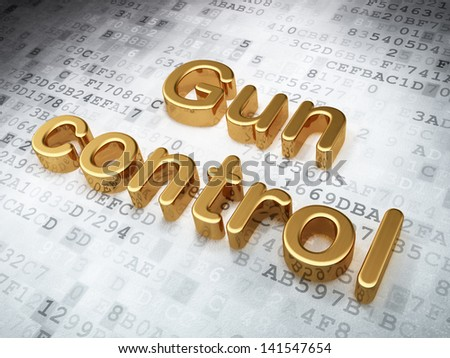 Privacy concept: Golden Gun Control on digital background, 3d render