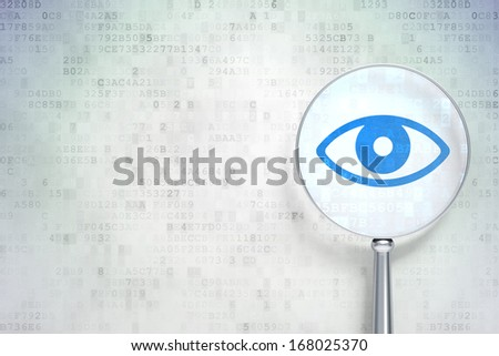 Privacy concept: magnifying optical glass with Eye icon on digital background, empty copyspace for card, text, advertising, 3d render
