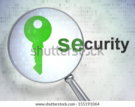Privacy concept: magnifying optical glass with Key icon and Security word on digital background, 3d render - stock photo