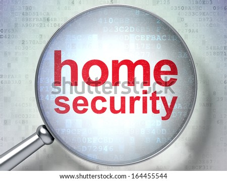 Privacy concept: magnifying optical glass with words Home Security on digital background, 3d render - stock photo