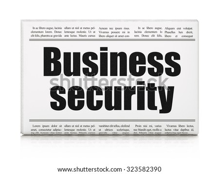 Privacy concept: newspaper headline Business Security on White background, 3d render - stock photo