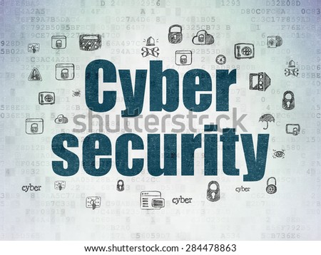 Privacy concept: Painted blue text Cyber Security on Digital Paper background with  Hand Drawn Security Icons, 3d render