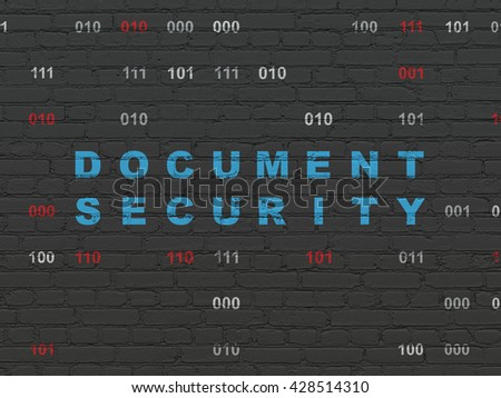 Privacy concept: Painted blue text Document Security on Black Brick wall background with Binary Code
