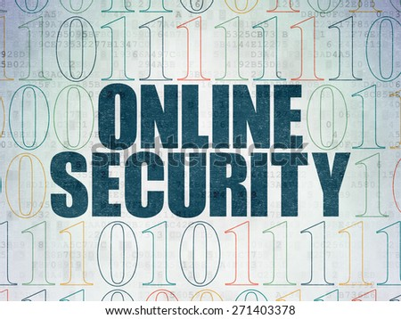 Privacy concept: Painted blue text Online Security on Digital Paper background with Binary Code, 3d render - stock photo