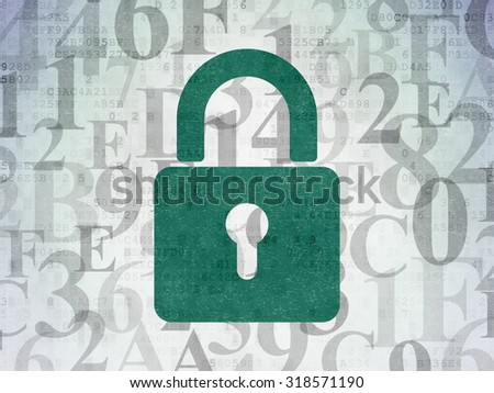 Privacy concept: Painted green Closed Padlock icon on Digital Paper background with  Hexadecimal Code - stock photo