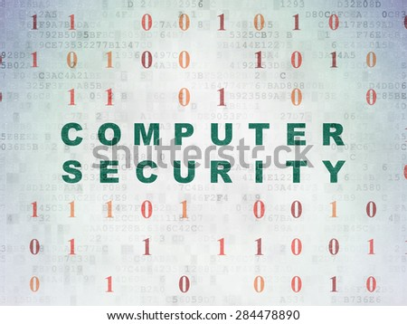 Privacy concept: Painted green text Computer Security on Digital Paper background with Binary Code, 3d render - stock photo