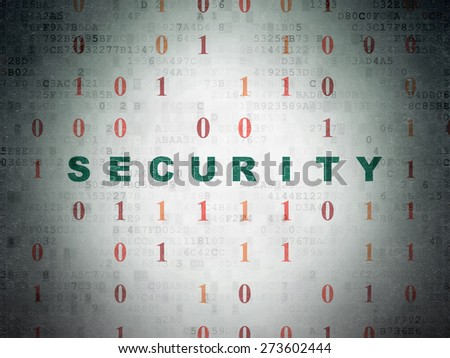 Privacy concept: Painted green text Security on Digital Paper background with Binary Code, 3d render - stock photo