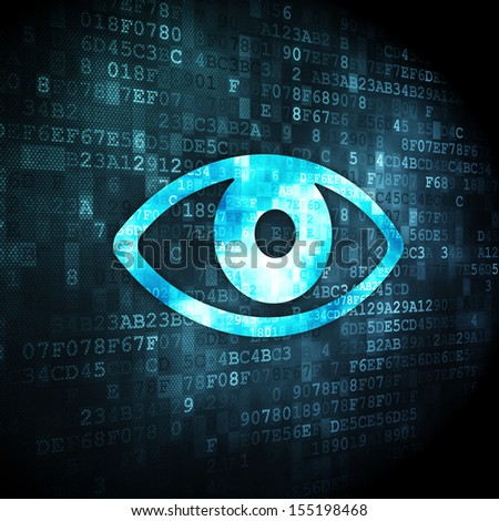 Privacy concept: pixelated Eye icon on digital background, 3d render - stock photo