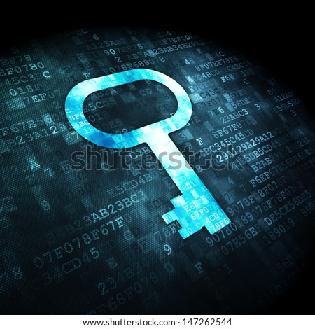 Privacy concept: pixelated Key icon on digital background, 3d render