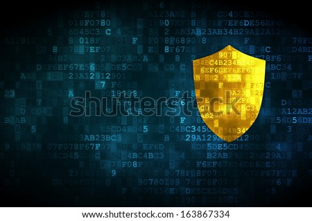 Privacy concept: pixelated Shield icon on digital background, empty copyspace for card, text, advertising, 3d render - stock photo