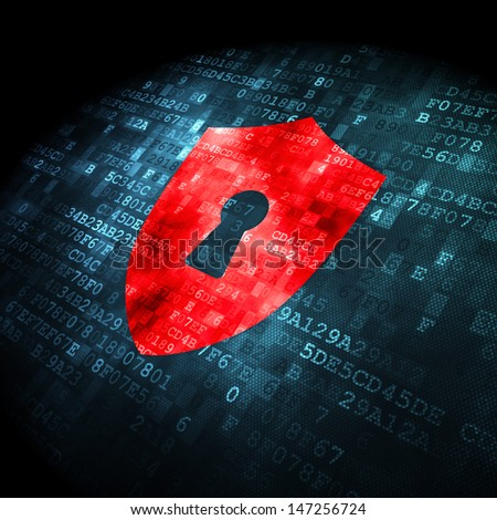 Privacy concept: pixelated Shield With Keyhole icon on digital background, 3d render
