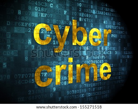Privacy concept: pixelated words Cyber Crime on digital background, 3d render