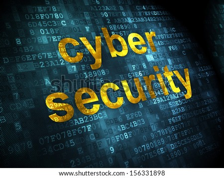 Privacy concept: pixelated words Cyber Security on digital background, 3d render