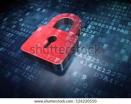 Privacy concept: Red Closed Padlock on digital background, 3d render