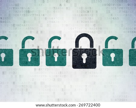Privacy concept: row of Painted green opened padlock icons around black closed padlock icon on Digital Paper background, 3d render - stock photo