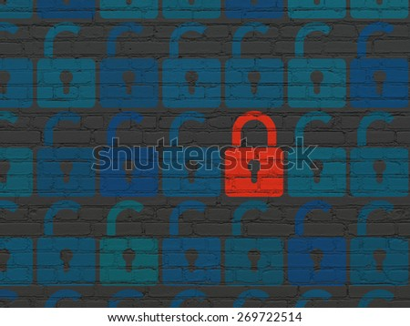 Privacy concept: rows of Painted blue opened padlock icons around red closed padlock icon on Black Brick wall background, 3d render - stock photo