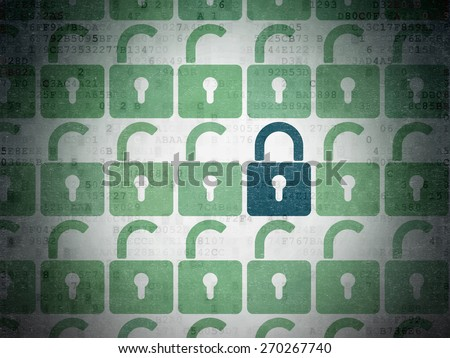 Privacy concept: rows of Painted green opened padlock icons around blue closed padlock icon on Digital Paper background, 3d render - stock photo