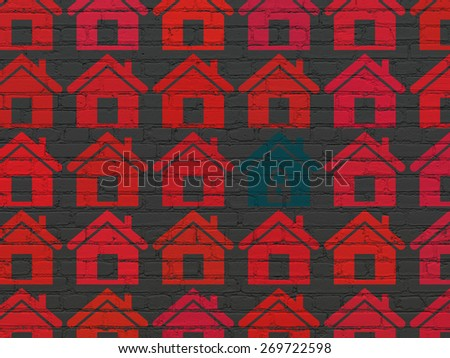 Privacy concept: rows of Painted red home icons around blue home icon on Black Brick wall background, 3d render - stock photo