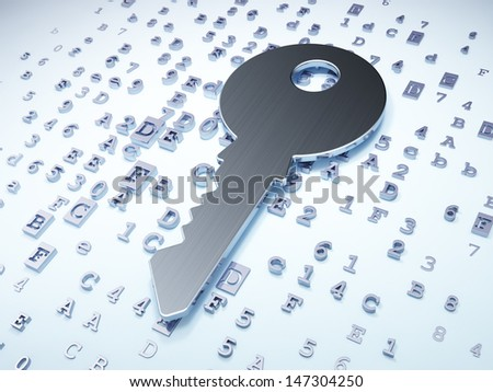 Privacy concept: Silver Key on digital background, 3d render - stock photo
