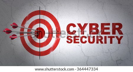 Privacy concept: target and Cyber Security on wall background - stock photo