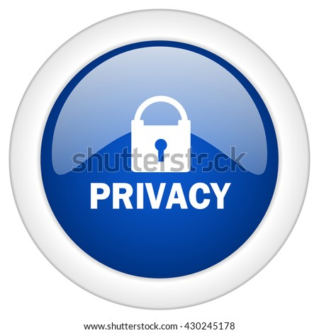 privacy icon, circle blue glossy internet button, web and mobile app illustration