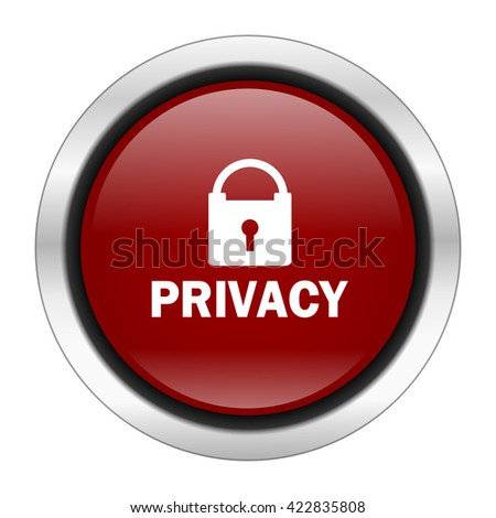 privacy icon, red round button isolated on white background, web design illustration