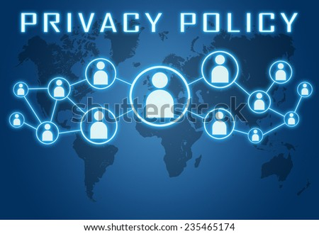 Privacy Policy concept on blue background with world map and social icons. - stock photo