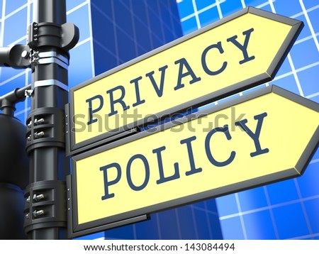 Privacy Policy Concept. Waymark on Blue Background. 3D Render. - stock photo