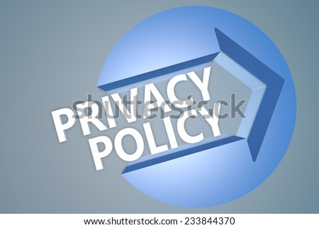 Privacy Policy - 3d text render illustration concept with a arrow in a circle on blue-grey background - stock photo
