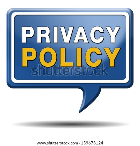 privacy policy or terms to protect personal information. Button icon or sign.