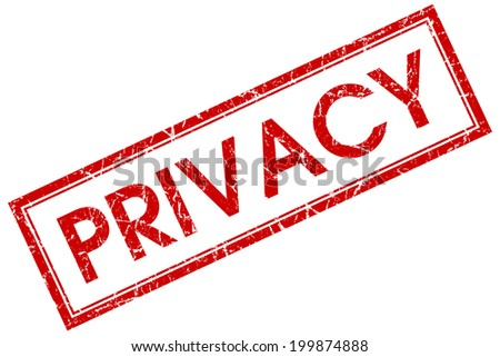 Privacy red square grungy stamp isolated on white background - stock photo