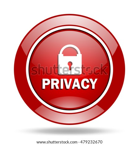 privacy round glossy red web icon