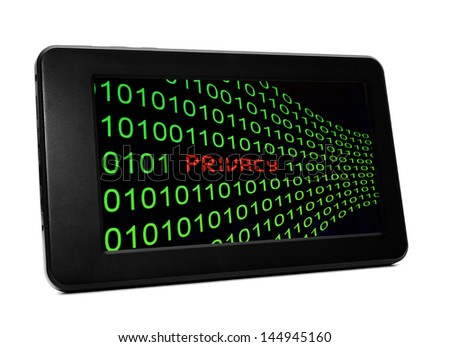 Privacy text on Pc tablet - stock photo