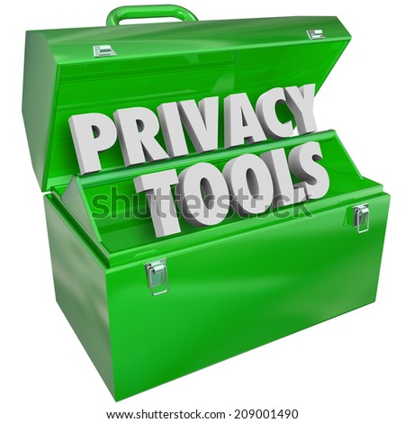 Privacy Tools words in 3d letters in green metal toolbox as resources, information, tips, advice or assistance in keeping your personal data and details safe from hacking or theft - stock photo