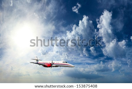 Private airplane inflight in the sky - stock photo