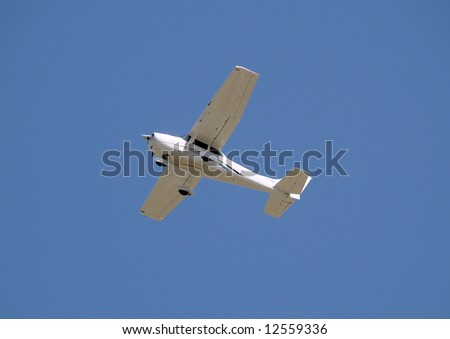 Private airplane passing overhead