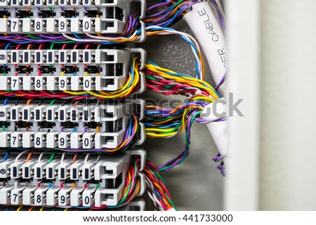 Private Automatic Branch eXchange telephone system. cable PABX . selective focus - stock photo
