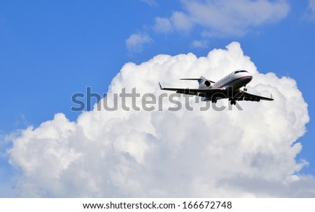 Private buisiness jet flight in aerospace