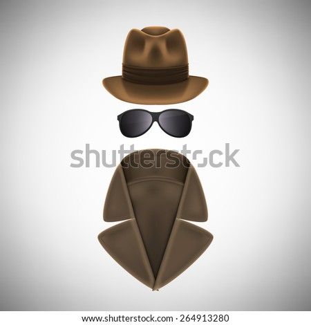 Private Eye Hat, Glasses and Raincoat - stock photo