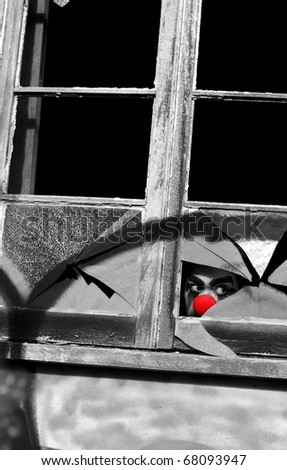 Private Eye Investigator Undercover As A Clown Secretly Does Surveillance Through A Broken Window At An Old Rundown Abandoned House