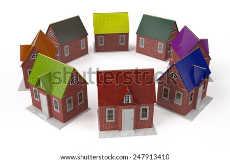 Private house circle isolated on white background - stock photo