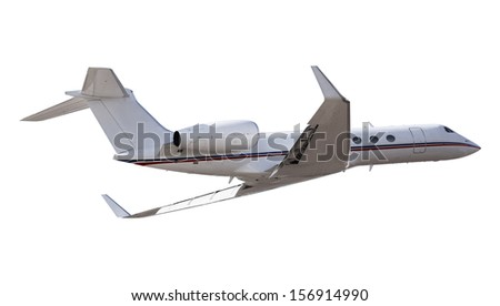 Private luxurious aircraft isolated on white - stock photo