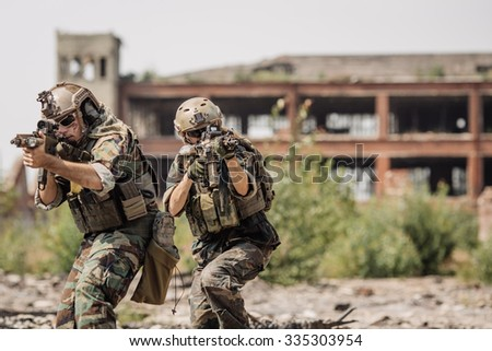 Private Military Contractor during the special secret operation - stock photo