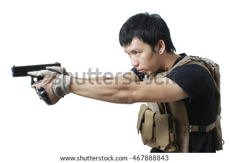 Private military contractor man with pistol handgun weapon isolated on white background