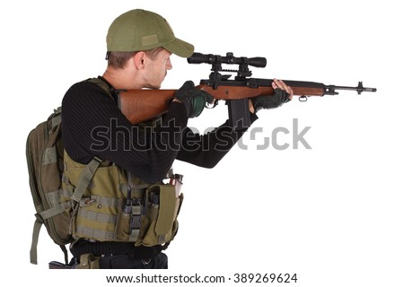 Private military contractor - mercenary with m14 sniper rifle isolated on white - stock photo